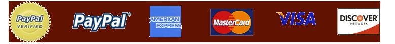 Paypal, American Express, Mastercard, Visa and Discover Logo
